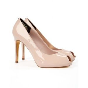 Ted Baker Abesi Nude Patent Leather Open Toe Heels